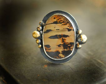 Serengeti Ring, Indian Paint Jasper, Sterling Silver, Keum Boo, Wearable Art Statement Ring....