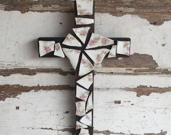 Mosaic Cross Wall Hanging - Vintage Dishes - burned in Housefire  - Redemption