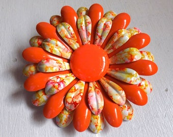 Vintage large 1960s mod enamel flower pin or brooch tie dye orange pink and white dimensional layered