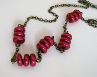Red Necklace, Wine Red Pearl Necklace, Red and Antique Bronze Necklace, Dark Fuchsia Pink Necklace