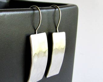 Modern Hammered Sterling Silver Earrings - 25th Anniversary Gift - Birthday Gift - Valentine's Gift for Her