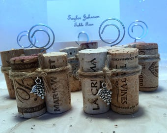 Wine Cork Place Card Menu Table Number Holders Twine Grapes Charm Wedding Rehearsal Dinner Party Wine Event Vineyard Rustic Favors