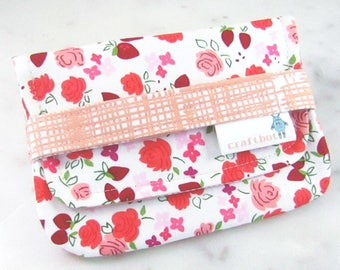 Sanitary Pad Holder, Pink and Peach, Tampon Case, Sanitary Pad Case, Tampon Holder, Sanitary Napkins, Period Case, Strawberries and Flowers