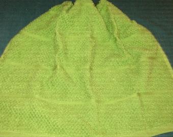 Crochet Kitchen Hanging Towel, Green with darker green crochet top