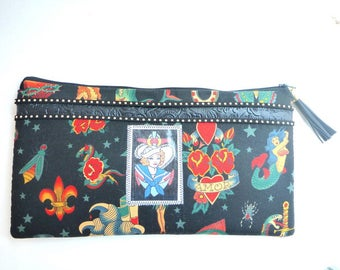 Sailor Jerry tattoo wallet clutch/rockabilly bag/vintage image/wrislet/purse/pencil case/cosmetic bag/travel pouch/gift for her/tattoo flash