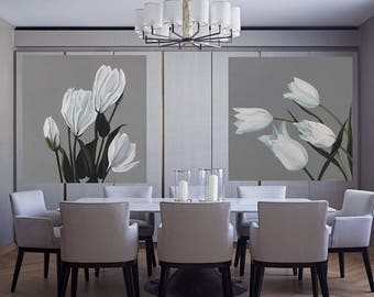 Lisianthus Flower Painting - White Gray Large Botanical Acrylic  Modern Flower Art Classical Floral Dining Room Wall Decor