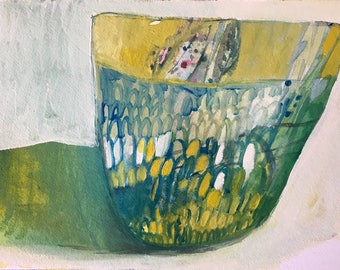 Green Basket, Original acrylic painting on arches