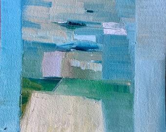 Landscape Vessel, Original oil painting on arches