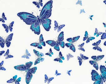 Dutchess Floral Butterfly fabric | CM5228-SNOW | Chong-a Hwang | Timeless Treasures