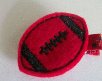 Boutique Embroidered  Felt Red & Black Football Hair Clip, Toddlers Hair Clippies, Girls Hair Bows, Football, Fall, Bulldogs   (Item 365)
