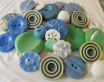 Vintage Buttons - Cottage chic fancy pierced mix of green, and blue lot of 27 old and sweet( July412 17)
