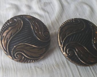 Vintage Buttons -2 matching 7/8 inch jet glass with gold luster painted pressed design  (July 552 17)