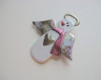 Snow angel brooch pin with heart and pink scarf and patterned wings
