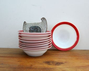 vintage 1950s Pyrex Dinnerware Salmon Pink Red & Gold Band Set of 9 Small Bowls