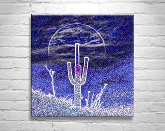 Psychedelic Art, Desert Print, Moon Art, Picture Gift, Cactus Wall Art, Indigo, Digital Art, Canvas Photo, Blue Art, Square Art, Arizona Art