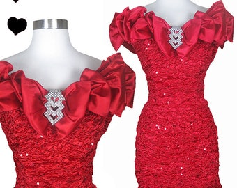 Vintage 80s Dress // Red Sequin Cocktail Prom Party Dress S At to Off Shoulders Rhinestones Mini Sheath Body Con Dance Glam 90s 1980s 1990s