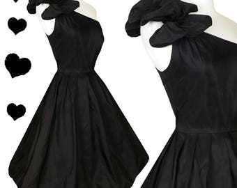 Vintage 80s Dress // One Shoulder Black Satin Puff Bubble Skirt Balloon Prom Cocktail Party Dress XS Full Skirt Dance Glam LBD 50s Style