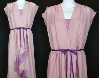ON SALE Vintage Mauve Pink Purple Spaghetti Strap Chiffon Dress XS S