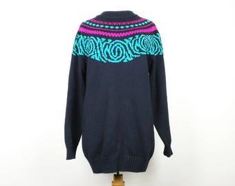 Vintage Sweater Black Pink Teal Green Ski Womens XL Summit County 90s