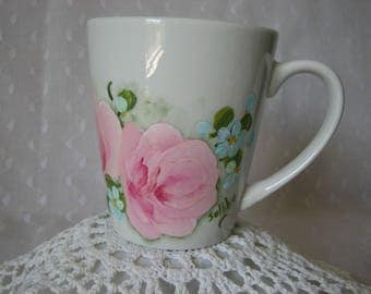 Coffee Mug Hand Painted Cottage Chic Pink Roses Blue flowers