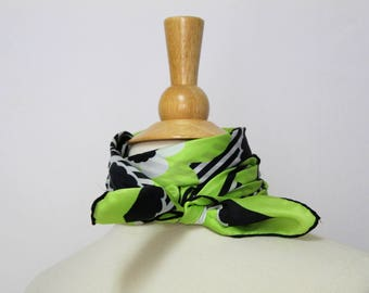 Silk Twill Scarf, Lime Green and Black Floral Scarf, Vintage Silk Scarf, Floral and Striped Scarf, Square Scarf