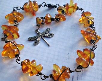 Dragonfly Amber Bracelet -  Amber Bracelet - Baltic Amber - Adjustable Length