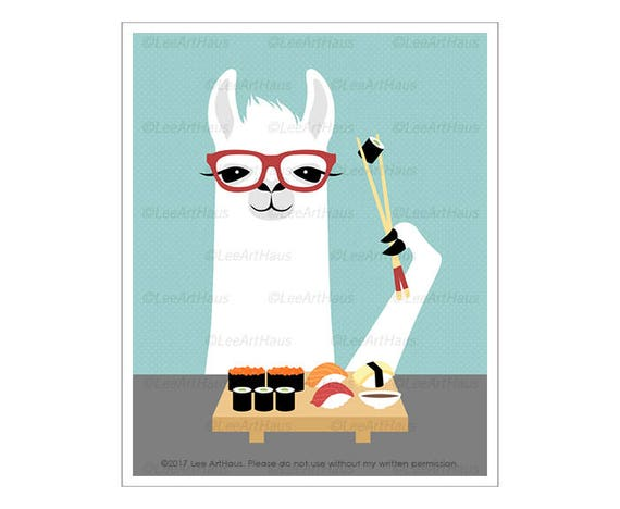 42J Funny Animal Art - White Llama Eating Sushi Wall Art - Sushi Print - Animal Wearing Glasses - Foodie Gift - Sushi Drawing - Llama Print