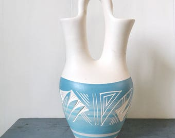 handmade Mesa Verde Pueblo pottery - Native American wedding vase - turquoise cream ombre - wedding gift