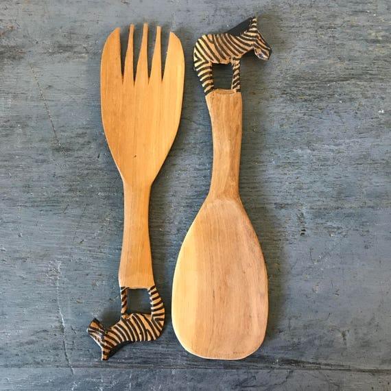 vintage wooden serving utensils - hand carved salad fork spoon - zebra server set - boho safari