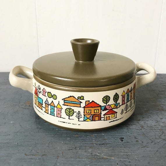 vintage casserole dish - lidded ovenware bakeware - Country Village - Mid Century Japanese stoneware