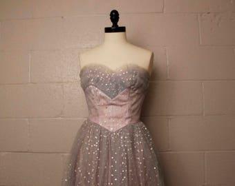 Vintage 1950's Blue Lavender Silver Strapless Formal Prom Dress 26 waist