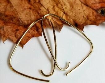 Triangle Hoops, Gold Brass, Faceted Hoops, Simplistic Earrings, Whimsical Earrings, Unique Earrings, Hoop Earrings, Gold Hoops, Open Hoops