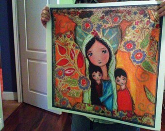 Mother with Two Boys  - Large Print on Fabric from Original Painting (20 x 20 inches) by FLOR LARIOS