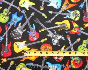 Electric Guitars Rock N Roll on Black BY YARDS Timeless Treasure Cotton Fabric