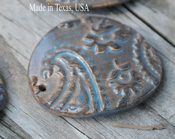 Handmade Pottery Bead in Blue Grotto