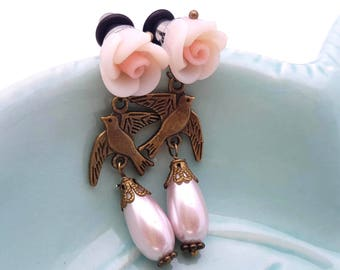 4g 5mm Dangle Plugs Pink Love Bird for Stretched Ears-Piercing-Surgical Steel- Bohemian Gauges-316L Fashion Plugs-Hippie Plugs- Boho Plugs