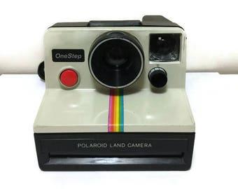 Vintage Polaroid OneStep SX-70 White Rainbow Stripe Instant Camera