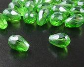 CLEARANCE Glass Beads 20 Fern Green Teardrop Faceted Drop 11mm x 8mm (1020gla11-10)os