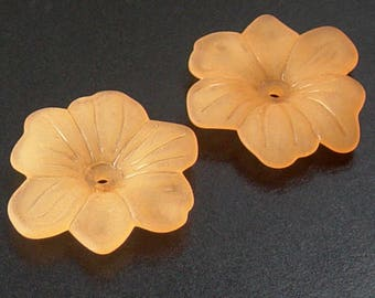 Acrylic Bead 4 Star Daisy Flower Orange 6-Petal Frosted 30mm (1030luc30m1-2)