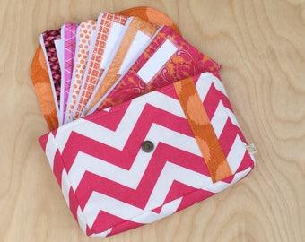 Cash Envelope Wallet - Cash Envelope System - Cash Budgeting System - Zipped Cash Envelopes - Hot Pink and Orange