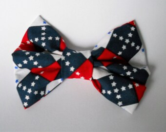 Dog Collar Bow Tie-  4th Of July Independence Argyle Dog BowTie
