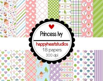 Digital Scrapbooking Princess Ivy  -InstantDownload, Pink, Green Princess