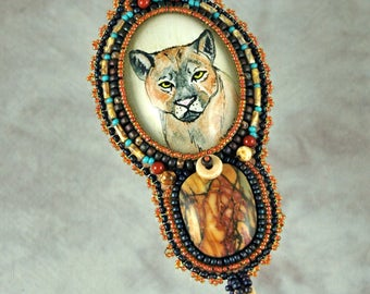 Necklace, Bead Embroidered Necklace, cougar, pen and color ink, original drawing, vintage button, handmade, one-of-a-kind, beaded