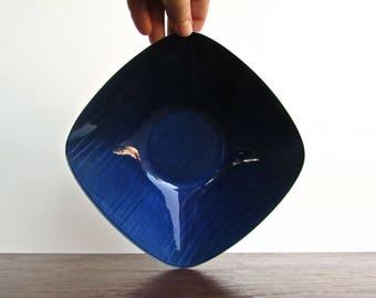 Grete Prytz Kittelsen Cathrineholm Norway STREK Design Royal (Silky) Blue Enamel Striped Square Bowl, Stainless Back Marked and Pristine