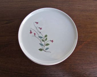Franciscan 1958 Winsome, Set of 4 - Bread & Butter Plates - Pink Bell-Flowers w/ Blue/Green Leaves, Tan Porcelain Mid Century Dinnerware