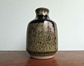 Moss Green and Inky Brown Weed Pot, Handbuilt Rich Ballanced and Distinctive Bud Vase, Simply Gorgeous