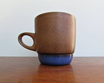 Edith Heath Pottery of California, Moonstone Rim Blue - Tall Stackable Mugs, American Modern Design