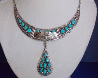 FREE SHIPPING-Vintage Navajo Sterling and Turquoise Necklace