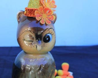Vintage Style Halloween - Ceramic Owl Figure with Witch Hat. Winking, Norcrest