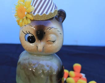 Vintage Style Halloween - Ceramic Owl Figure with Witch Hat. Winking, Norcrest, Yellow Daisy